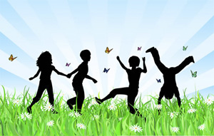 An illustration of silhouetted children playing among butterflies in bright green grass
