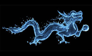 An illustration of a dragon composed of splashes of water against a black background
