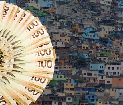A circular spread of 100-dollar bills superimposed over an image of a barrio hillside of colourful but dilapated shacks.