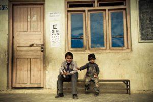 Seva eye screening clinic at a school in the Gulmi District of Nepal.