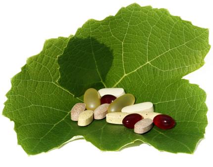 Vitamin pills in a leaf