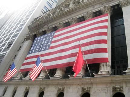 American flag with digital stars