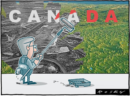 Cartoon: Stephen Harper paints a forest with a swath of oil sands industry
