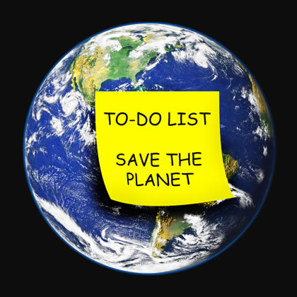 A photo of the earth from space with a giant post-it note saying - To do: Save the Planet