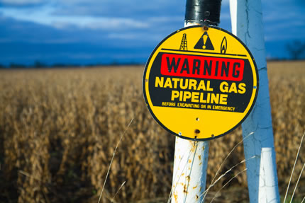 Natural Gas Pipleline sign