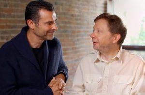 Milton's Secret co-author Eckhart Tolle and director Barnet Bain.
