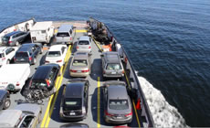 Cars fill the decks of a BC ferry