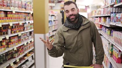 Jeremy Loveday in a supermarket