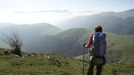 hiker overlooking mountainous terrain