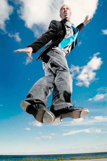tap dancer in mid air