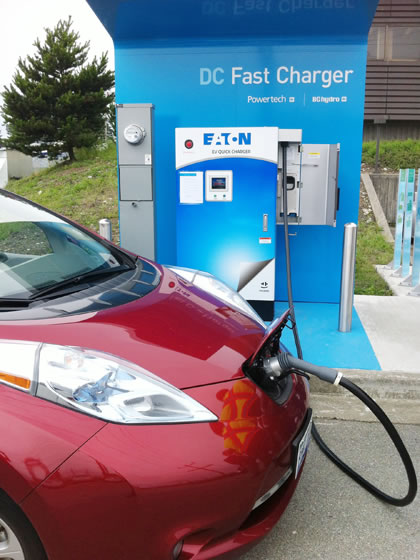 Leaf at fast charger