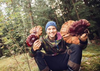 holding mushrooms