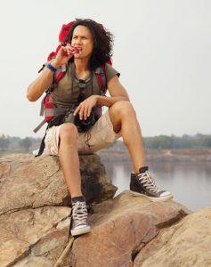 "hiker eating"""