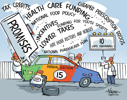cartoon: a car brought in for servicing on a racetrack with banners showing all the current political issues