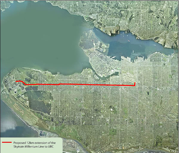 Proposed 12km extension of the SkyTrain Millenium line to UBC