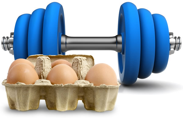dumbell and eggs