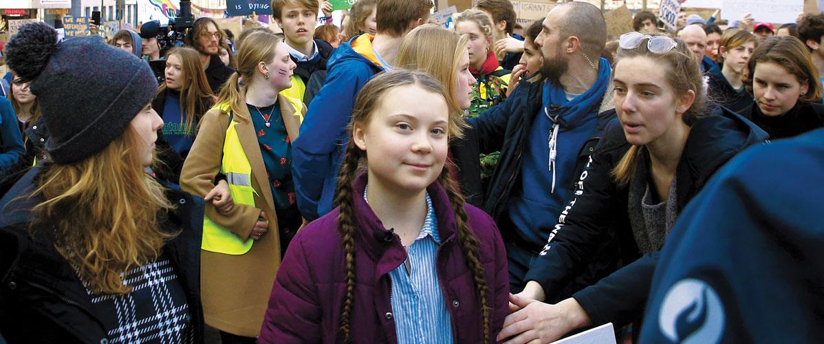 Greta in a crowd